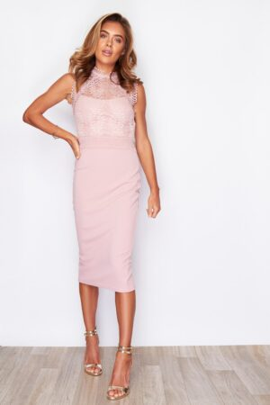 Allie High Neck Midi Dress Mauve
