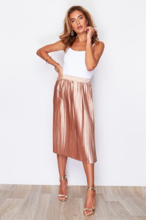 Pleated Midi Skirt Metallic Peach