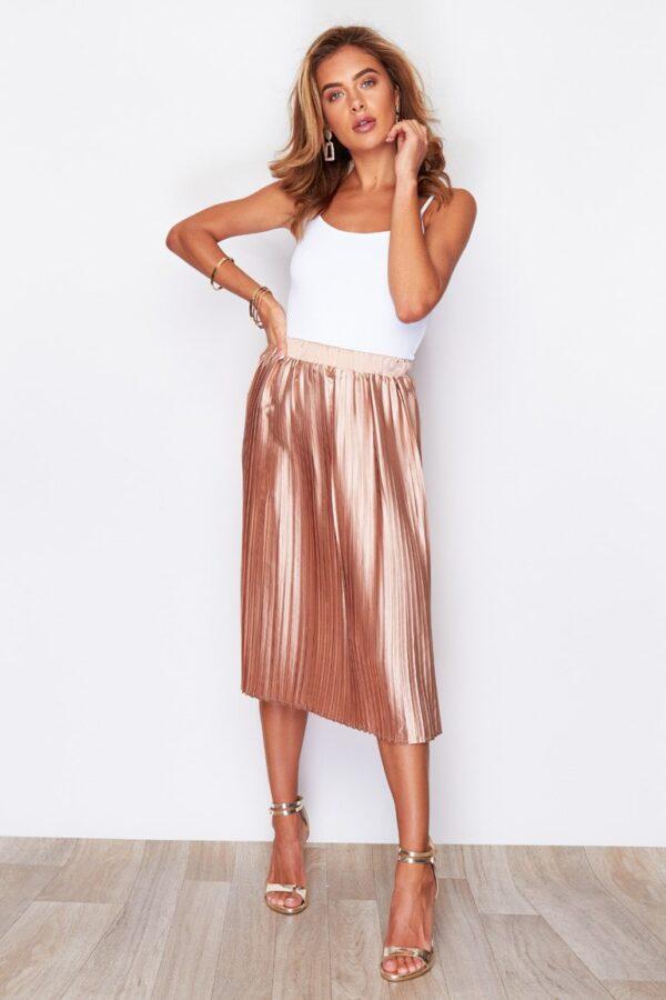 Pleated Midi Skirt Metallic Peach