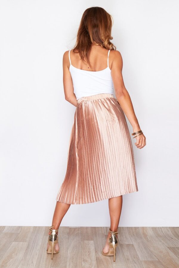 Arianna Pleated Midi Skirt Peach usassy
