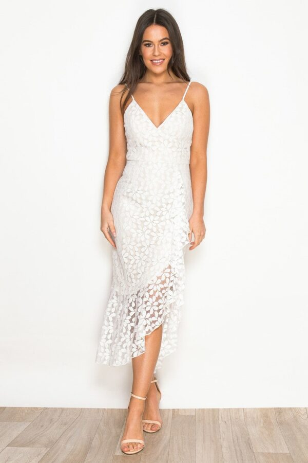 Cecilia Asymmetric Ruffle Hem Midaxi Dress White Lace