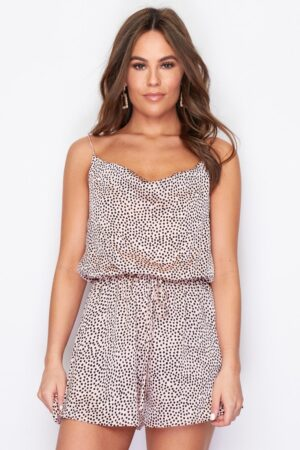 Cowl Neck Playsuit Nude Spot