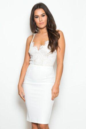 Florence Lace Top Midi Dress White Lace
