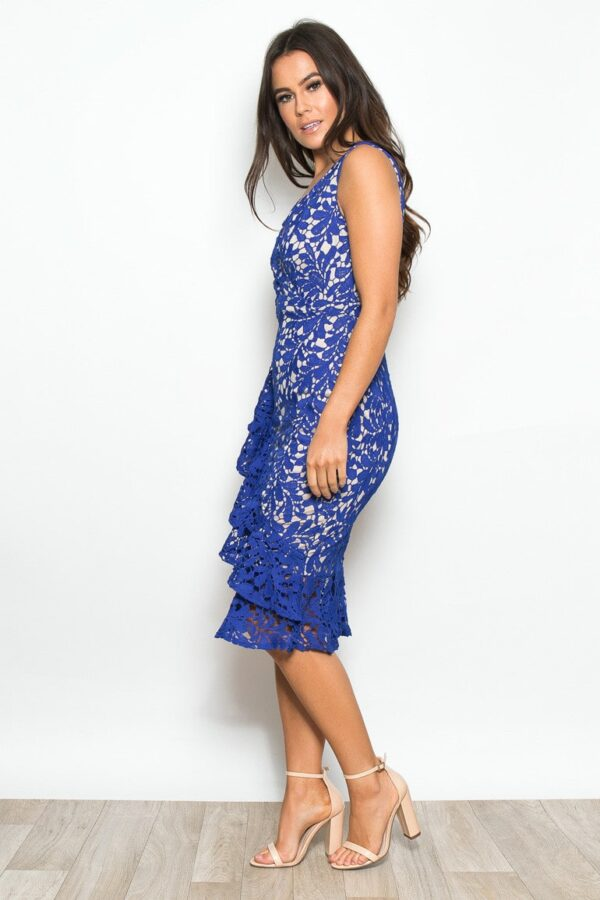 Frill Hem Crochet Midi Dress