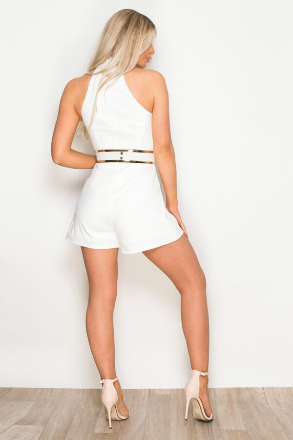 High Neck Playsuit With Belt White
