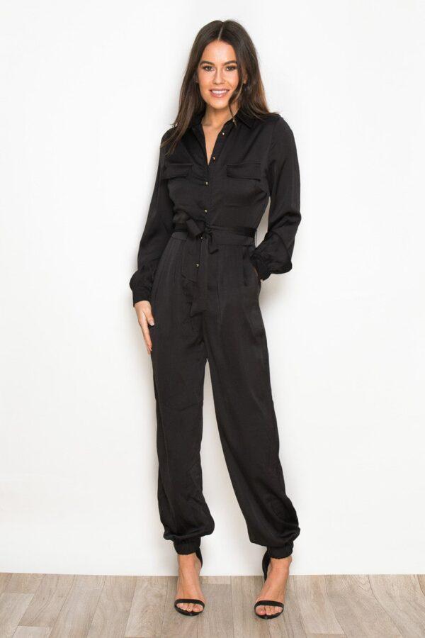 Long Sleeve Utility Jumpsuit Black