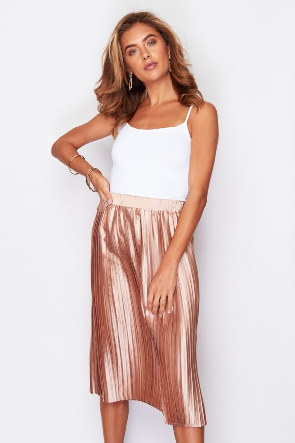 Arianna Pleated Midi Skirt Metallic Peach