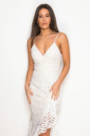 Ruffle Hem Midaxi Dress White Lace