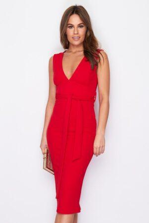 V Neck Sleeveless Midi Dress Fashion