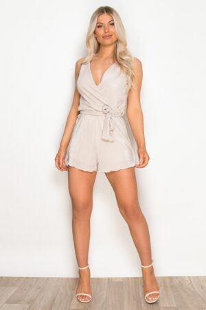 Pleated V Neck Wrap Playsuit Champagne