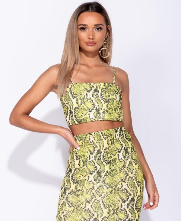 Snake Print Midi Skirt
