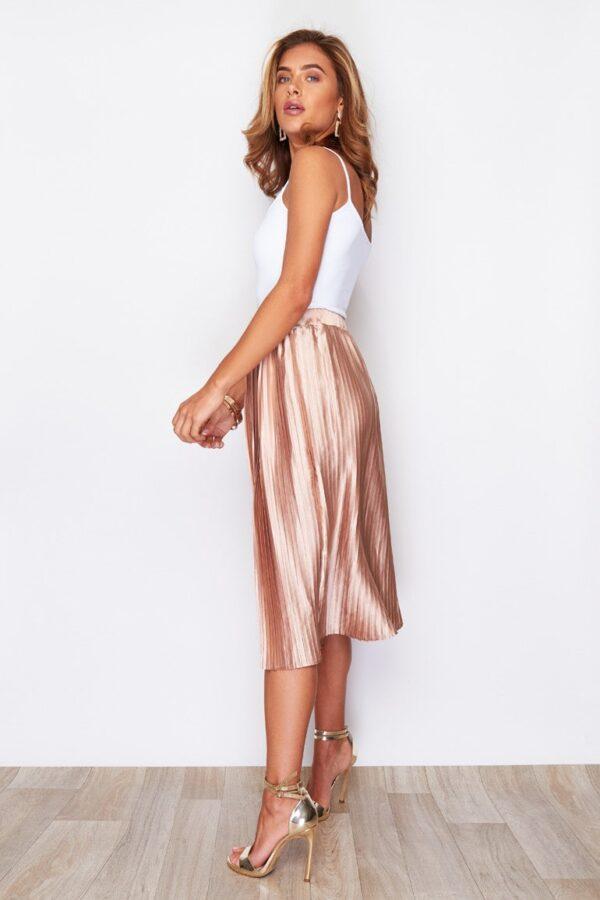 usassy Pleated Midi Skirt Metallic Peach