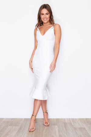 White bodycon midi fishtail