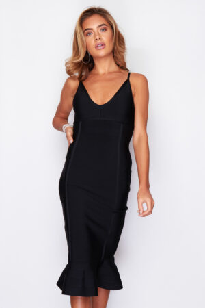 Black Bodycon midi fishtail dress