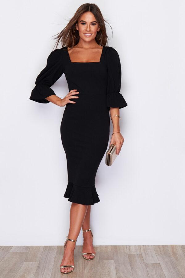 Square Neck Black Fishtail Midi Dress