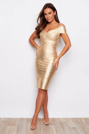 Gold Foil Bandage Bodycon Off Shoulder Dress