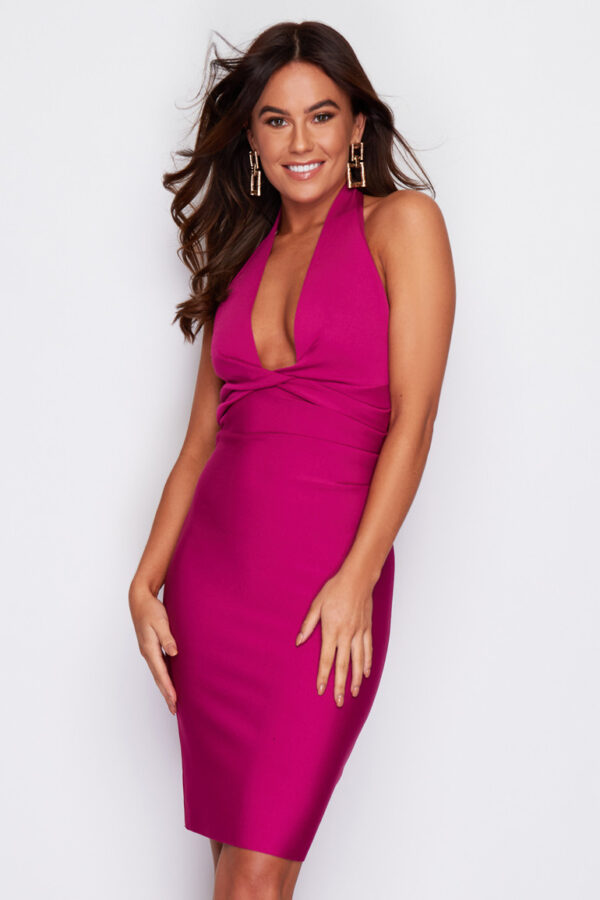 Magenta pink plunging twist front midi dress