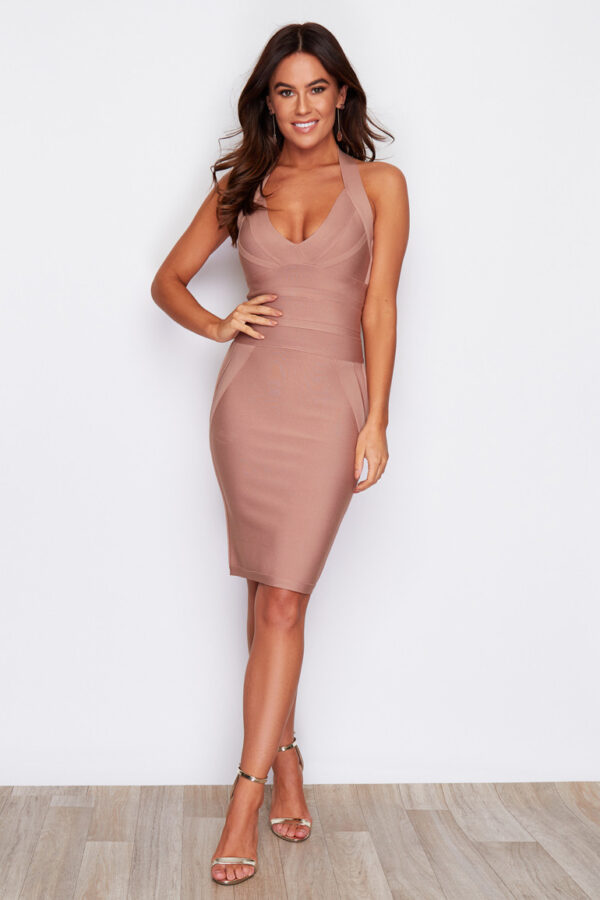 Panel bandage nude bodycon halter neck