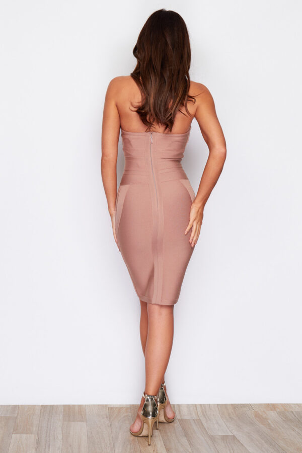 panel nude bodycon halterneck bandage dress