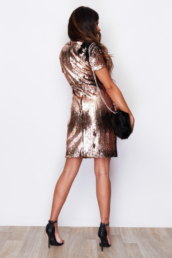 Multi effect Sequin Gold Shift Dress