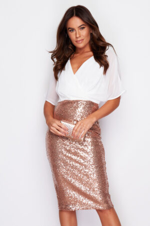 Rose Gold V neck sequin batwing dress