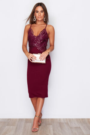 Wine Strappy Sequin Midi Dress With Back Detail