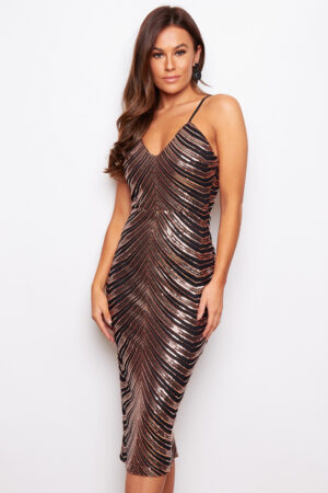 Bronze Sequin Strappy Midi Dress
