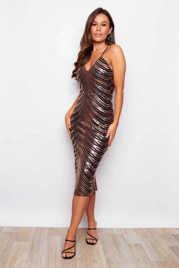 Sequin Bronze Strappy Midi Dress